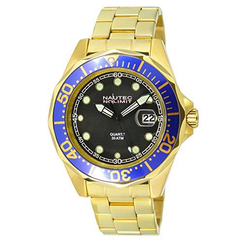Nautec No Limit DSB-QZ-GDGDBLBK Deep Sea Bravo Men's Watch XL Quartz Coated Stainless Steel