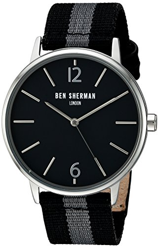 Ben Sherman Men's Quartz Watch with Black Dial Analogue Display and Two Tone Nylon Strap WB044B