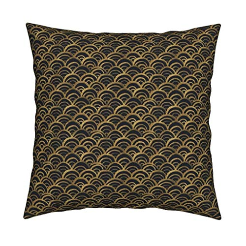 YorkeIII Deco Throw Pillow Gold Art Deco Scallop Black by Crystal Double u walen Scales 18x18 Square Throw Pillow Crystal Scallop