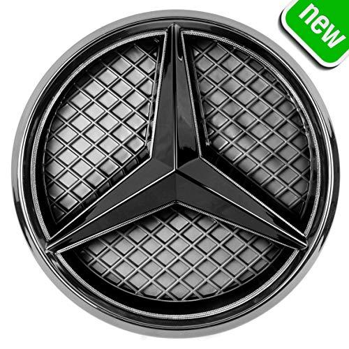 JetStyle LED Emblema 2011-2018, Negro Rejilla de Radiador Logotipo, Logo Automotriz Iluminado, Aros Resplandecientes, Auto Luces Diurnas Blanco - Abrillantador de Conducción