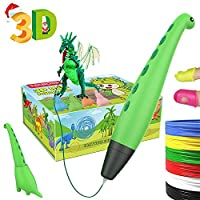 Tecboss 3D Pen for Kids, Dinosaur STEM Toys 3D Printing Pen Mini Printer Drawing Painting Art Set with 2 Speeds Safe Sleep Mode Easy Control, The Best Gifts for 6/7/8/9/10 Year Old Boy Girl