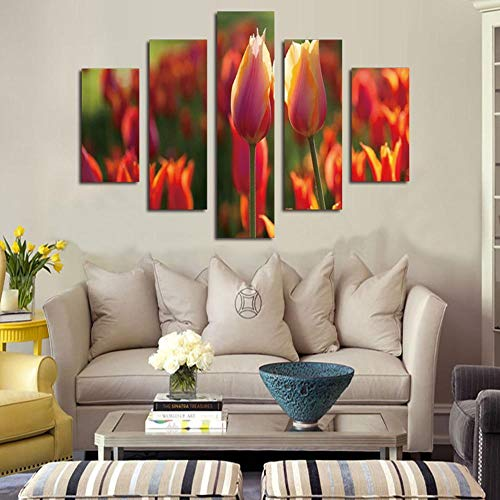 Luziang Wandgemälde Wandkunst für lebendige, floral Inkjet Öl Malerei Tulip Bush House Dekoration Wandbilder Malen auf Leinwand,Verwendet für Wohnzimmerschlafzimmerwanddekoration
