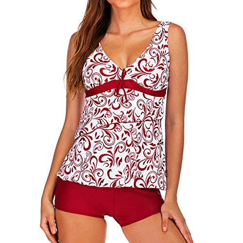 Asalinao Frauen Plus Size Print Tankini Badeanzug Badeanzug Beachwear Gepolsterte Badebekleidung -