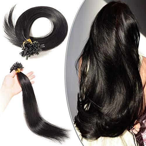Extension capelli veri cheratina nero 100 ciocche - 45cm #1 jet nero - 100% remy human hair pre bonded u tip nail hair capelli naturali lisci 0.5g/fascia