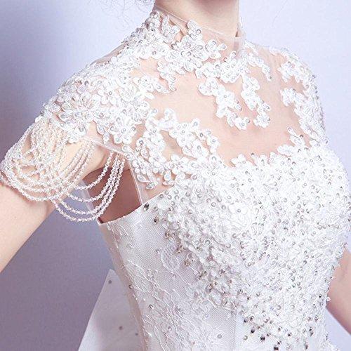 AN Luxuriöse Spitze Halfter Stand Crystal Flower Prinzessin Braut Schlank Hochzeitskleid,Weiß,S