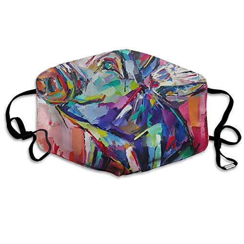 Louis Berry Staubmaske, wiederverwendbar, für Damen und Herren, Motiv: fliegendes Schwein, Leinwand-Kunstwerk, Mundmaske, Unisex