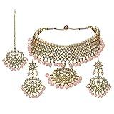 Aheli - Conjunto de Collar y Pendientes Tradicionales Indios Maang Tikka con Kundan, joyería étnica de diseñador para Bodas y Fiestas para Mujeres (Rosa)