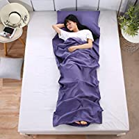 EAHUHO Sleeping Bag Liner Sheet Lightweight - Travel Sleeping Bag Hypoallergenic Anti Bug/Germs with Pillow Pocket and Travel Pouch - Traveling Camp Hotel and Backpacking (80 x 210cm)