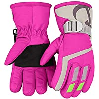 7-Mi Kids Winter Warm Water-Resistant Gloves for Skiing/Snowboarding/ Cycling/Riding Outdoor Activities Children Mittens Best for 4 to 8 Years Old Pink
