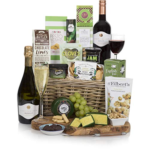The Classic Wine and Cheese Collection - Prosecco & Red Wine - Food Hampers and Gourmet Gift Baskets - Luxury Hampers For Him or For Her - Free UK Delivery