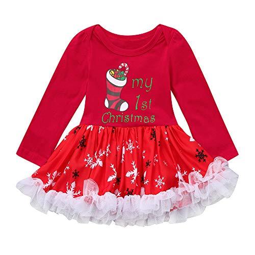 BeautyTop Baby Mädchen Weihnachten Spielanzug Pettiskirt Rock Baby Baumwolle Langarm Outfits Baby Strampler Festliche Baby Kinderkleidung - Langarm-deluxe-overall