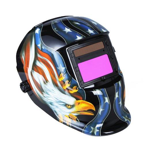 KKmoon Solar Soldadura de Oscurecimiento Automático de Casco Soldadores Máscara,Máscara de Soldadura Solar, Casco para Soldadura con Figura de Águila(Negro)