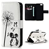 iPhone SE Case iPhone 5S & iPhone 5 Cover Case , Lanveni Relief Printing Premium PU Leather Wallet Flip Cover Bookstyle Cell Phone Shell & Magnetic Closure & Card Slots & Stand Function Protective Cover for iPhone SE & iPhone 5S & iPhone 5 , Dandelions & Butterflies