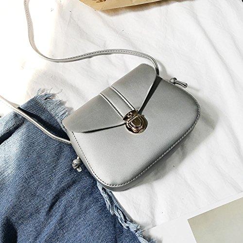 Sprnb La Nuova Moda Nuova Borsa Donna Retrò Tutti-Match Spalla Semplice Messenger Femmina Libero Bag,Argentea silvery