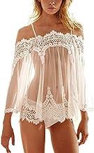 Sannysis Conjunto lencería Ropa de dormir y ropa interior de encaje color blanco
