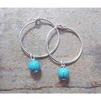 Sterling Silber Kleine 15mm Ohrringe mit Türkis Perlen