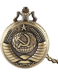Relojes de Bolsillo para Hombre, diseño de Estrella de Comunismo, Bronce, Reloj de Bolsillo de Cuarzo con Cadena, Hombres