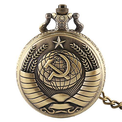 Bronze Russland Sowjet Sichel Hammer Taschenuhr Quarz Kette Anhänger Uhr für Herren Damen Geburtstag Geschenke