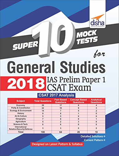 Super 10 Mock Tests for General Studies 2018 - IAS Prelim Paper 1 CSAT Exam