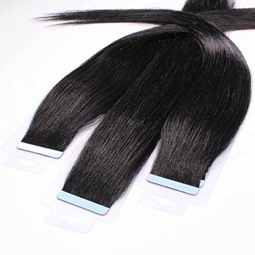 hair2heart 10 x 2.5g Tape In Echthaar Extensions, 40cm - glatt - #1 schwarz