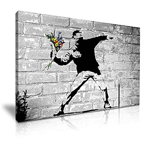 BANKSY Lanceur de fleurs Thucker Graffiti Art mural sur toile imprimé 76x 50cm