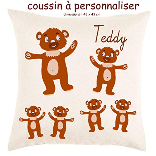 Coussin avec sa Housse Toucher très Doux Nounours Personnalisable avec un Prénom Exemple Teddy