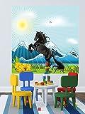 selbstklebende Fototapete - Kinderbild - Pferd - schwarzer Hengst - 100x100 cm - Tapete mit Kleber – Wandtapete – Poster – Dekoration – Wandbild – Wandposter – Wand – Fotofolie – Bild – Wandbilder - Wanddeko
