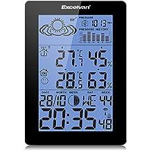 EXCELVAN - Estación meteorológica inalámbrica (Indoor/Outdoor con pronóstico de temperatura, humedad, fase de luna) ,Iluminacion azul de fondo LED, Color Negro