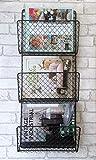 Metal Wire Magazine Newspaper Rack Industrial Style Wall Storage Baskets 2 Sizes