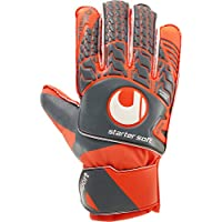 UHLSPORT - AERORED STARTER SOFT - Gant gardien football - Latex Starter Soft - Coupe Classique - gris foncé/rouge fluo/blanc