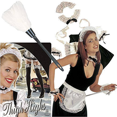 ngs-Set * ZIMMERMÄDCHEN * für Motto-Party oder Karneval // Set Verkleidung Kostüm Geburtstag Fasching Dress Up Set French Maid Staubwedel Strumpfhosen Putzfrau Kellnerin ()