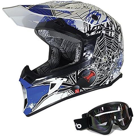 Adultos Motorcycle Racing Casco Viper X95moto motocicleta Off road Motocross casco enduro Cascos estéreo de patinete Quad con gafas negro Viuda (L, azul)