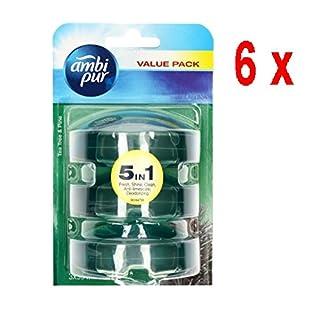 Ambi Pur 6 x 3 flüssige WC-Steine Nachfüller 3 x 55 ml - Theeboom & Den (Tea Tree/Pine)
