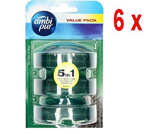 Ambi Pur 6 x 3 flüssige WC-Steine Nachfüller 3 x 55 ml - Theeboom & Den (Tea Tree/Pine) - Pine Wc