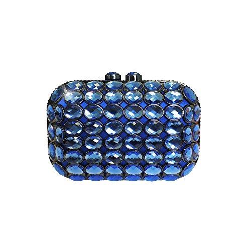 Anna Cecere Italienisch Entwickelt Gioello Jewel Clutch Abendtasche - Blau (Grün Handtasche Jeweled)