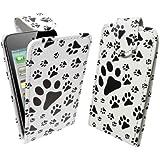 StyleBitz Etui à rabat pour Apple iPod Touch 4, élégant, pattes d'animal (blanc et noir)