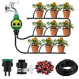 king do way Garten Bewässerungssystem, Micro Drip Gartenbewässerung Pflanzen-Bewässerungs-System, DIY Micro Automatische Gewächshaus Sprinkler für Balkon & Terrasse