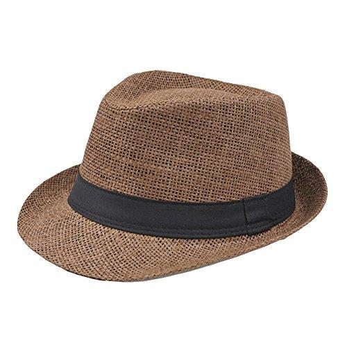 Hosaire Chapeau de Paille Homme Respirant Chapeau de jazz Anti-soleil Chapeau de Soleil Été Pour Plage Voyage Loisir Café