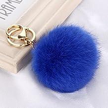 zhuotop 1pc Nuevo estilo de piel de conejo teléfono celular de pompón coche llavero colgante bolsa llavero azul azul real
