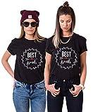 Best Friends T-Shirts für Zwei Damen Mädchen Beste Freundin BFF Freunde Freund Tshirt mit Aufdruck Pfeil Herz 2 Stücke Tops Sommer Frau Oberteil (Schwarz+Schwarz-S+M)