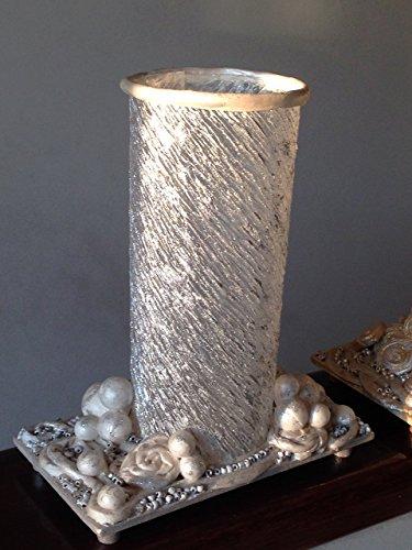 Porta-velas blanco y plateado, hecho a mano obra original