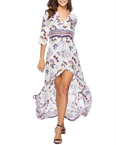Auxo Damen V-Ausschnitt Blumen Kurzarm Kleid Lange Lose Casual Party Strandkleider Weiß EU 40-42/Etikettgröße L - V-ausschnitt Kleider Weiß Abschlussball