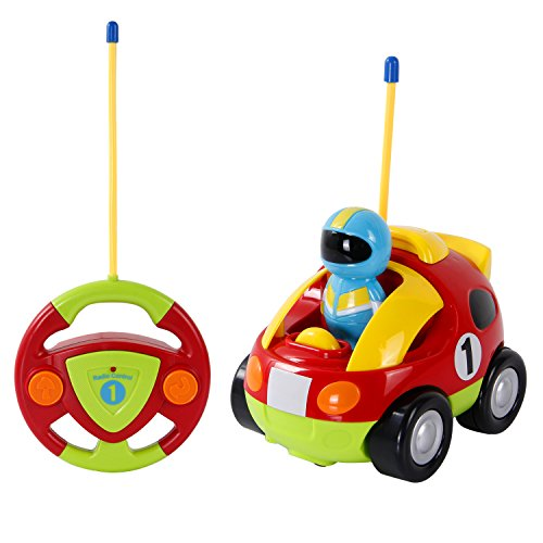 RC Cartoon Race Car Toy with Light Music, Remote Control Cars Birthday Present for Kids Toddlers