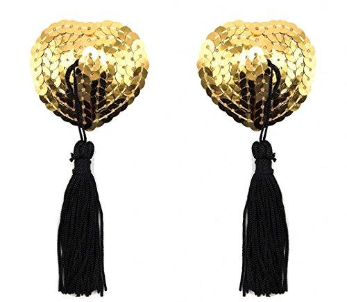 Creamlin Sequin Pasties für Womens Lingerie Brust Blütenblatt Pasty Kleber wiederverwendbar mit Quaste (Gold)