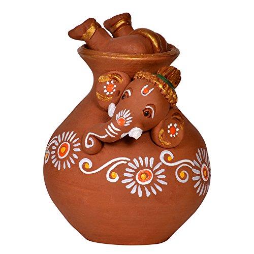 ExclusiveLane Terracotta Handpainted Matki Inside Out Baby Ganesha / Ganesha Idol Show Piece  available at amazon for Rs.574