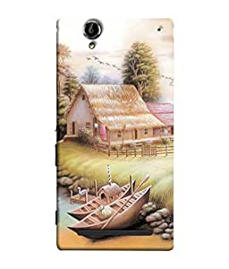 PrintVisa Designer Back Case Cover for Sony Xperia T2 Ultra :: Sony Xperia T2 Ultra Dual SIM D5322 :: Sony Xperia T2 Ultra XM50h (Hut Duck Birds Beautiful Canal Hut Illustration Climate)
