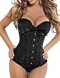 Beauty-You bustino intimo da donna gotico stringato in broccato con stecche, taglie forti, taglie 38-48 Black 44