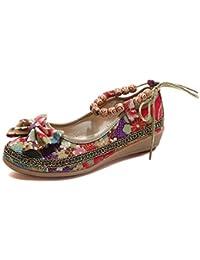 Zapatos vintage Bohemian bowknot mujer,❤️ Sonnena Zapatos de mujer Zapatos bordados de moda con decoración Bowknot Longitud del tobillo Piso plano Zapatos casuales