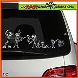 Freak-Family Familie Freakshow Modell 1 Aufkleber ca. 25 cm breite , Sticker-Familie Aufkleber Sticker Family breite Auto Aufkleber Autoaufkleber Familien Scheibe Lack Heckscheibe fürs Auto Familienkutsche Lustig Spass mit Montage Set inkl.