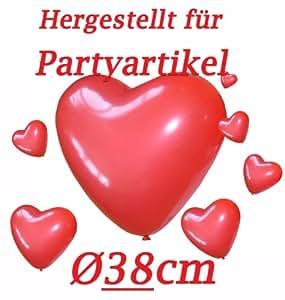 50 riesige Herzluftballons ROT Umfang 120cm Valentinstag Hochzeit Dekoration LIEBE Herz Luftballons Ballons Hochzeitsdeko Party Verlobung Heiratsantrag Muttertag Geschenke Herzen Deko Herzballons